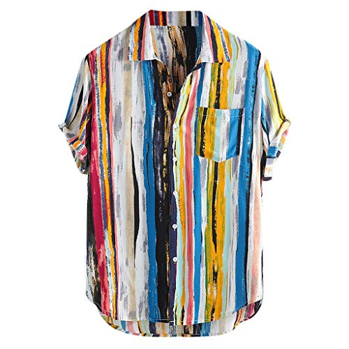haoricu Men's Summer V Neck Shirts Casual Short Sleeves Color Block Stripes Print Button Up Loose Shirts Blouse