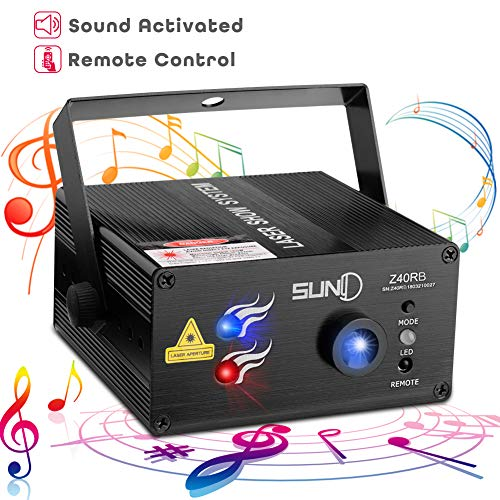 (SUNY Laser Lighting 40 Gobos Effect Red Blue DJ Laser Light Blue LED Music Laser Projector Remote Control Sound Activated Stage Lighting Dance House Decoration Xmas Holiday Event Party Carnival)