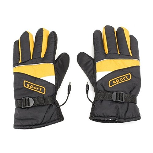 Wincom Dishman Motorcycle Gloves 12V/48V/60V Waterproof Electric Heated Gloves Winter Inner Warmer Motorcycle Ski Racing - (Voltage: 48V, Color: Yellow)