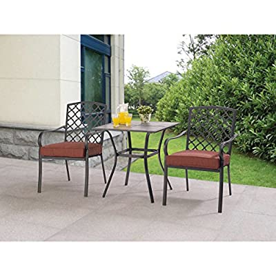 Ceramic Tile Tabletop Comfortable Ventilated Seating 3pc Red Bistro Set
