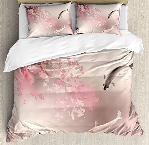 Lunarable Koi Fish Duvet Cover Set King Size, Sakura Blossom in Japan with Sacred Creature Asian Culture Lovely Nature Orient, Decorative 3 Piece Bedding Set with 2 Pillow Shams, Light ()