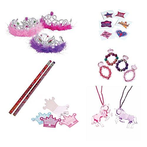 [Princess Tiara Rings Pencils Toy Party Favor Supplies 204 Piece Set for 12 Bundle] (Tattoos Of Princess Crowns)