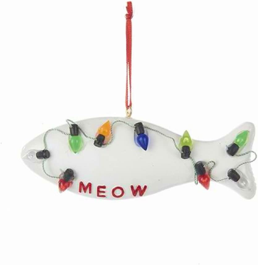 Kurt Adler FISH MEOW WITH C7 BULBS ORNAMENT FOR PERSONALIZATION