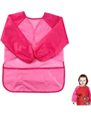 Children Art Smock Kids Art Aprons with Waterproof Painting Apron Long Sleeve 3 Pockets for Age 3-8 Years (Pink)