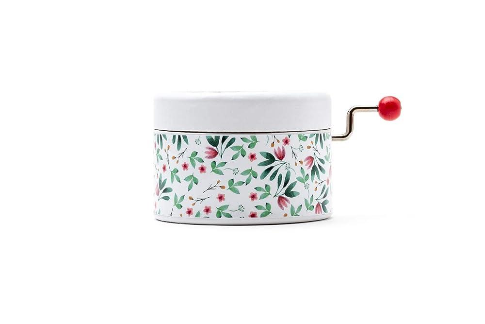 Caja de música manual redonda de estampado de flores con la ...