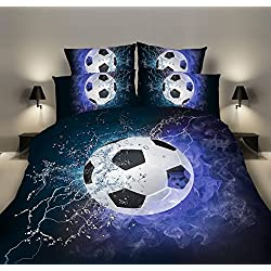 SDIII 2PC Soccer Bedding Microfiber Twin Sport Duvet Cover Set For Boys, Girls and Teens