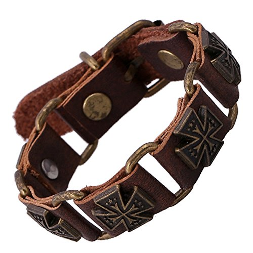 The November Nocturne Chunky Crux Shape Halloween Punk Style Metal Leather Wrist Bracelet