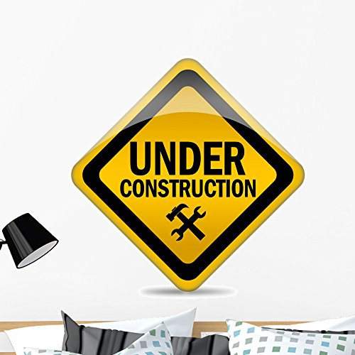 Wallmonkeys Under Construction Warning Sign Wall Decal Peel and Stick Graphic (36 in H x 35 in W) WM21284 -