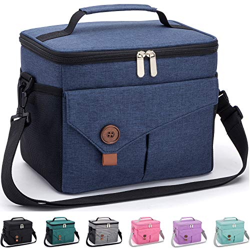 Reusable Lunch Bag with Detachable Shoulder Strap, Leak-proof Lunch Box for Office/School/Picnic/Beach, Large Capacity Cooler Tote Bag for Kids/Adult (dark blue)