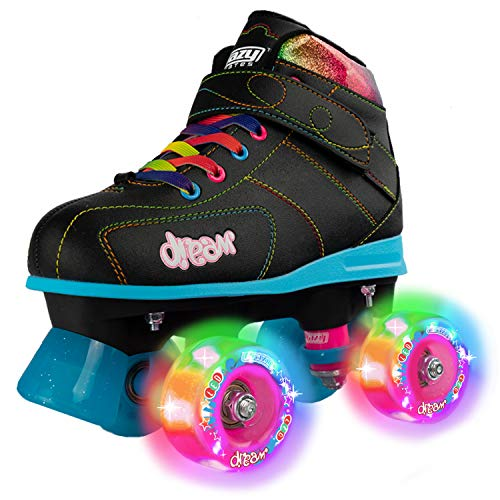 Crazy Skates Dream Roller Skates for Girls with LED Light-up Wheels - Black (Size Jr11) (Cuatros Profesionales)