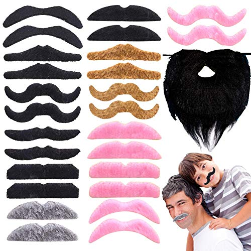 BigOtters Self Adhesive Fake Mustaches, 38PCS Costume Facial Hair Halloween Christmas Fake Mustache Funny Fake Beard Whisker for Kids Birthday Gift Home Party Favors