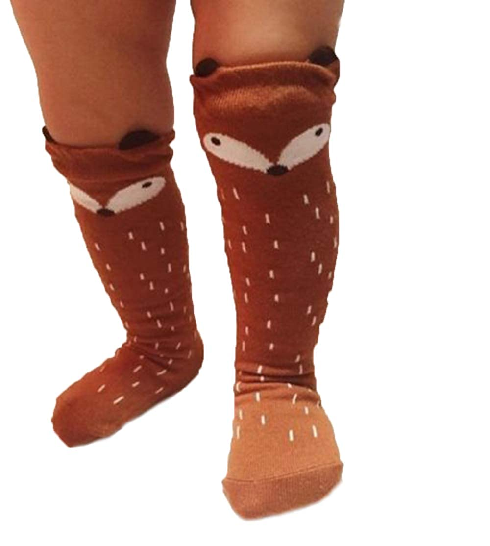 US Unisex Toddler Cute Cartoon Animal Nonslip Knee Highs Socks Soft Catton Warm Elastic Socks