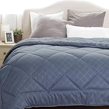 "Twin Comforter Duvet Insert with Corner Ties-Quilted Down Alternative Comforter Diamond Stitching Design Grayish Blue 66""x88"" by Bedsure"