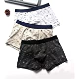 Jasinwins 3 Pcs/Lot Men Underwear Boxer Cotton Short Breathable Flexible Panties
