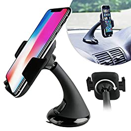 Car Mount Holder for Smartphones, Mobile Phone Cradle with Suction for Dashboard Windshield