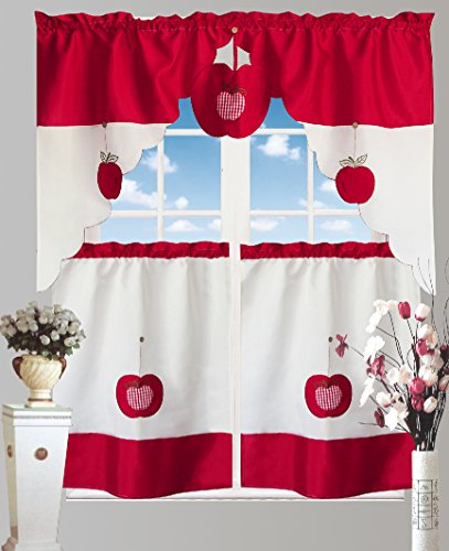 Bed Bath Fashions Chef's Collection Apple 3-Piece Pc Kitchen Curtain Valance Tailored Swag with 2 Tiers Decor Set 60-Inch x 36-Inch (Red) - smallkitchenideas.us