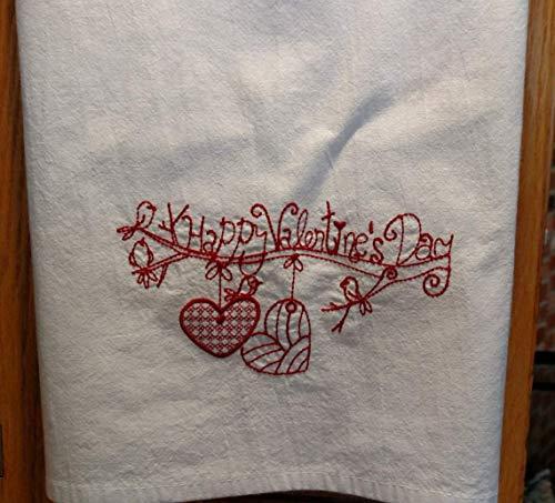 Valentine's tea towel, machine embroidery, flour sack towel, dish towel