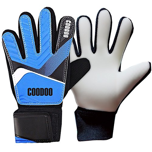 (Kids & Youth Soccer Goalkeeper Gloves, Junior Indoor & Outdoor Goalie Gloves for Girls and Boys, 3 mm Strong German Latex Palm, Supportive Wrist Straps, Secure and Comfort (Blue, Size 5))