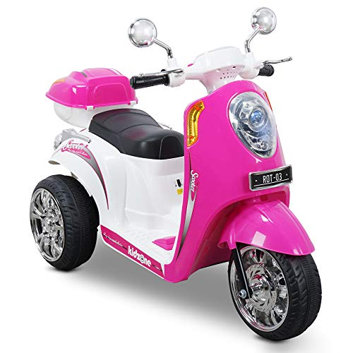 Kidzone Ride On Motorcycle Toy for Toddlers Aged 3+ Years - 6V Battery-Powered 3-Wheel Power Scooter with Music, Headlight, Horn, Storage Trunk, Key Switch - for Boys & Girls, Pink