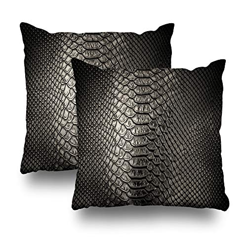 KJONG Set of 2 Black Skin Leather Snake Abstract Animal Art Backdrop Black Brown Cowhide Square DecorativePillow Case 20 x 20inch Zippered Pillow Cover for Bedroom Living Room(Two Sides Print)