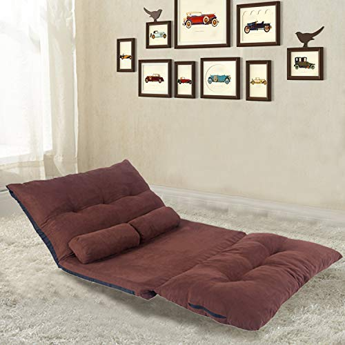 Merax Sofa Bed Adjustable Sleeper Bed Chair Folding Futon Sofa Bed Video Gaming Sofa Lounge Sofa with Two Pillows (Coffee)