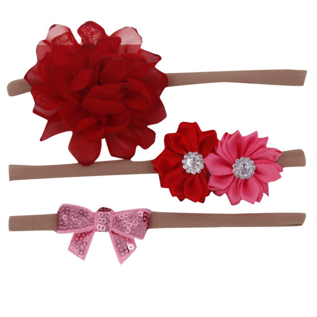 DZT1968 Baby Floral Headband Elastic Bowknot Accessories Nylon Hair Bow Elastics Headbands