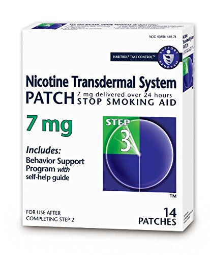 Habitrol Nicotine Transdermal System Stop Smoking Aid, Step 3 (7 mg), 14 Patches Pack of 3