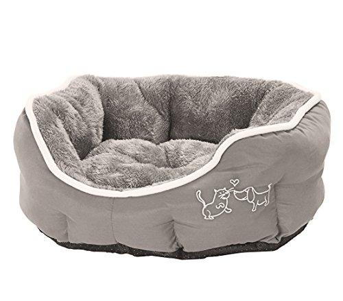 Dehner Hunde- und Katzenbett Sammy, oval, ca. 57 x 52 x 14 cm, Polyester, grau