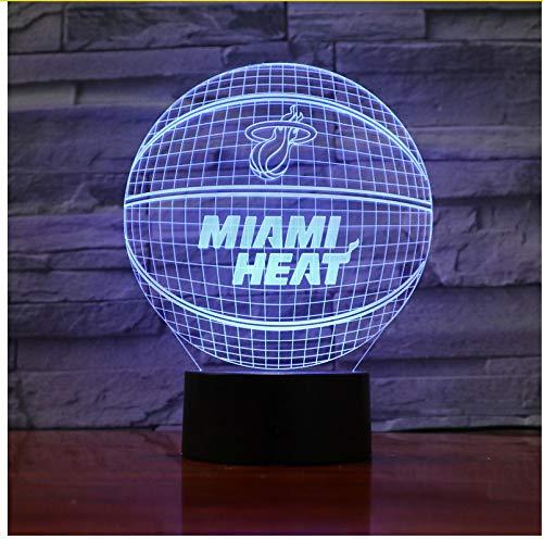Miami Heat Basketball Acrylic Lamp Sport 3D Night Light Regalos De ...