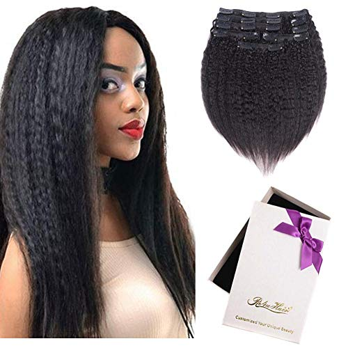 Beauty : Kinky Straight Human Hair Clip ins, Natural Italian Coarse Yaki Straight Virgin Hair Clip on Remy Hair Extensions 128 grams (8pcs/lot, natural color 16inch)