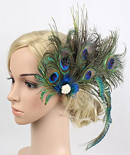 Women Girls Peacock Feather Hair Clip Retro Wedding Carnival Party Hairpin by TCYIN (Image #3)