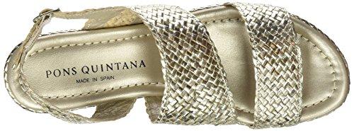 Pons quintana 6891.t00, Sandali con Chiusura sul Retro Donna Oro/Platino (Metal Platino 66)