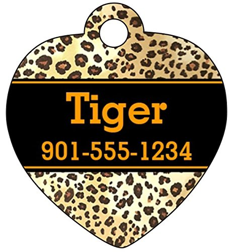 Personalized Leopard - Personalized Leopard Print Dog Tag Cat Tag Pet Id Tag w/ Your Pet's Name and Number (Orange)