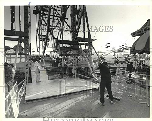 (1989 Press Photo New York State Fair Ferris Wheel Workers at Ride - sya00594)