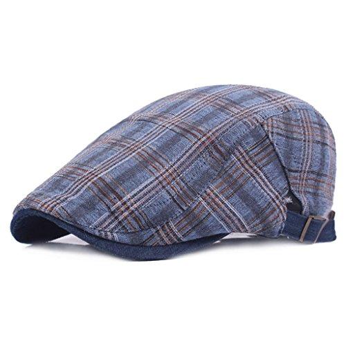 1177130de72 ZLSLZ Mens Cotton Plaid newsboy IVY Irish Cabbie Golf Cap Hat For ...