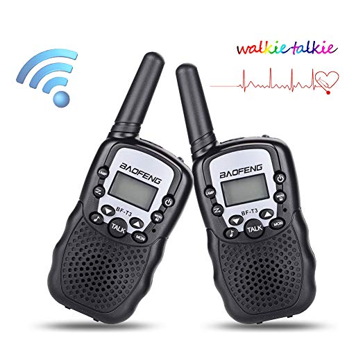 Walkie Talkies for Kids BF-T3 Children Outdoor Toys 22 Channels 3 Miles Range (1 Pair Black)