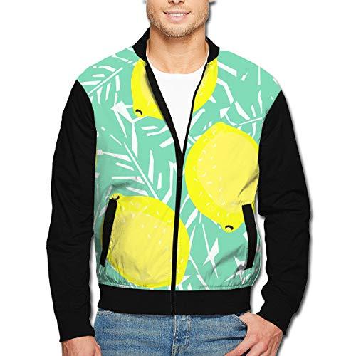Lemon Peel Baseball (SWIT&W94 Yellow Lemons Men's Stand Up Collar Zipper Sweatshirt with Pocket Jacket)