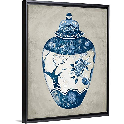 Imari Urn - Imari Urn I Blue and White Black Floating Frame Canvas Art, 20
