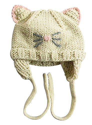 Price comparison product image WmcyWell Cute Girls Boys Infant Winter Knit Beanie Warm Cat Fall Earflap Hat,Beige