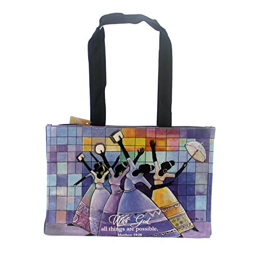 Handbags WITH GOD HANDBAG TOTE Vinyl Religious Rejoice Hb14