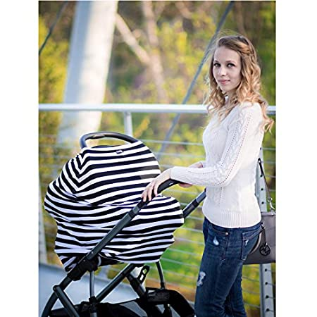 5 in 1 Nursing Breastfeeding Cover Scarf - Baby Car Seat Canopy, Shopping Cart, Stroller, Carseat Covers for Girls and Boys - Multi-Use Infinity Stretchy Shawl (Grey White Stripes) changzi