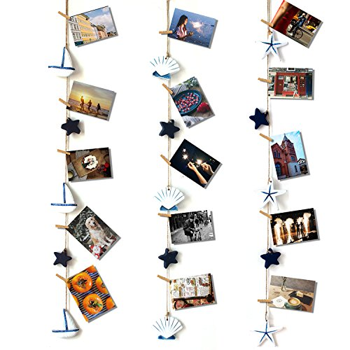 HAYATA Mediterranean Style Strap Home Decoration Nautical Vintage Decorative Multi Picture Frames Collage Photo String Hanging Display Wall Decor Party Home Bedroom (Fishing Memories Photo)