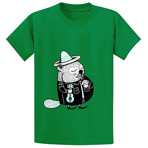 B Is For Beaver Youth Crew Neck Cotton Tees Green