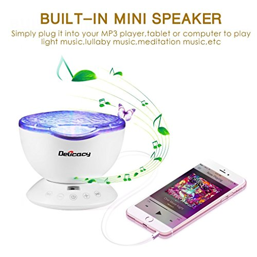 Delicacy Ocean Wave Projector 12 LED Remote Control Undersea Projector Lamp,7 Color Changing Music Player Night Light Projector for Kids Adults Bedroom Living Room Decoration by Delicacy (Image #3)