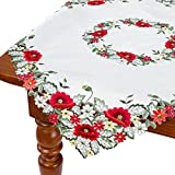 HomeCrate Decorative Red Poppy Table Topper, Handmade Embroidered Cutwork - 36'' Square