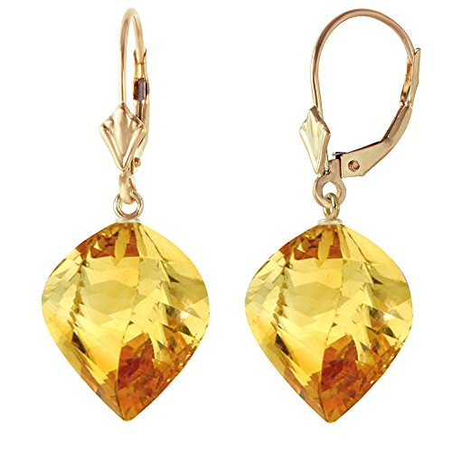 (23.5 CTW 14k Solid Gold Leverback Earrings Twisted Briolette Citrine)
