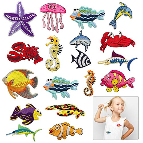 (Cieovo Assorted 18pcs Marine Creatures Iron on Patches Shark Whale Crabs Seahorses Starfish Embroidered Patches Appliques Decorative Repair Patches DIY Sew on)