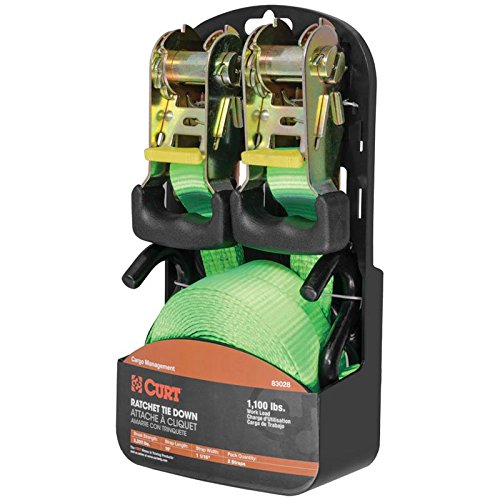 Curt Manufacturing Cargo Ratchet Straps Green 1inx16ft 2 Pack Lime by Curt Manufacturing (Image #1)