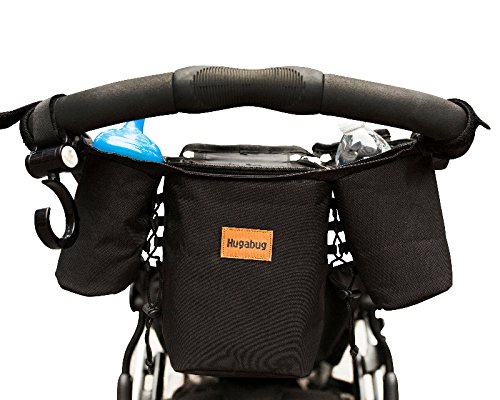 Premium Stroller Organizer For Busy Moms. 2 Deep Cup Storage Holders & Extra Large Pocket Fits iPhones, iPads, Wallet, Diapers, Books, Toys. Best Baby Shower Gift! Universal Fit. Free Stroller Hook!
