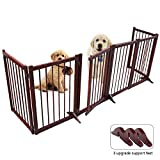 Freestanding Wooden Pet Gate,Upgrade 6 Panel Folding Wooden Fence, Dog Puppy Gate for Indoor Hall Doorway Stairs, Fits Small Medium Animals